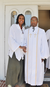 Anita with Reverend H.C. Boyd on steps of Shiloh, March 2011