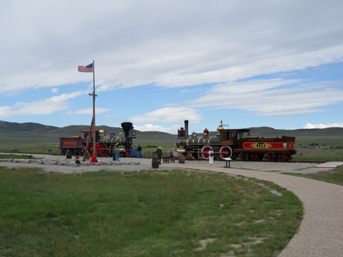 Replica trains in Promontory, Utah