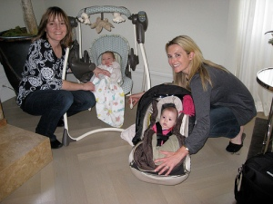 Jessica Congdon and Jennifer Siebel Newsom with daugthers