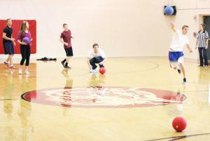 Students relieve some stress by playing a friendly game of dodgeball at lunch—they sometimes challenge faculty and staff to play!
