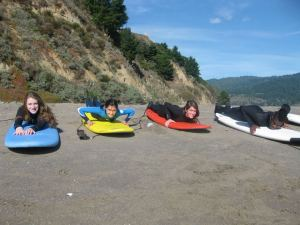 Students in the Bolinas surfing outing