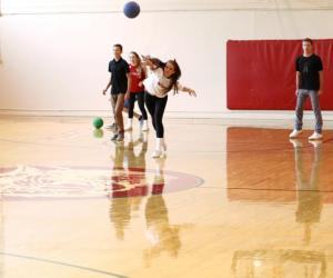 Marin Academy students playing dodgeball at lunch this fall