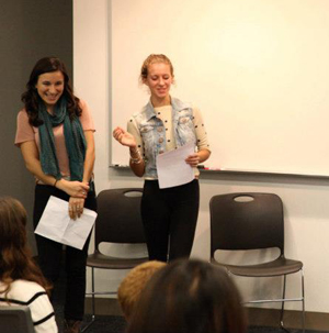 Students leading a session on the literature of the fantastic in France and Mexico