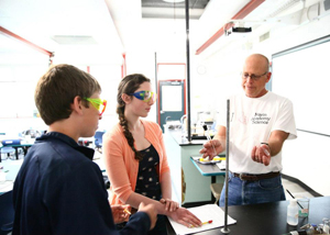 Science teacher John Hicks with chemistry students